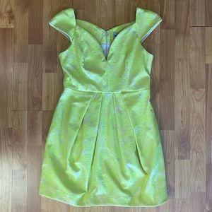 ASOS Neon Yellow Lace Cap Sleeve Dress